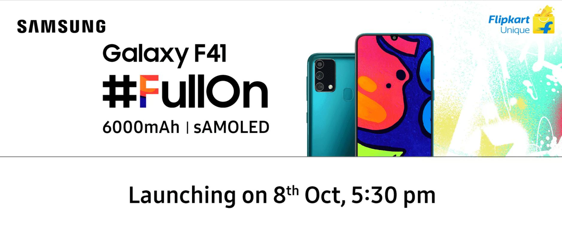 Samsung Galaxy F41 med 6000 mAh batteri startar den 8 oktober via Flipkart