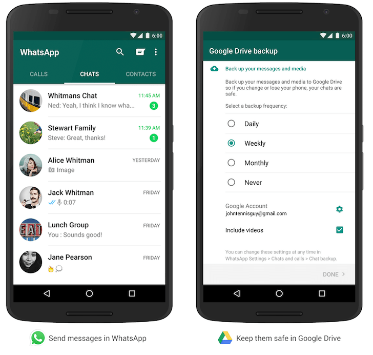 Så här säkerhetskopierar du WhatsApp-chattar och media till Google Drive