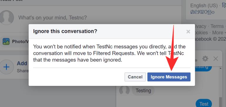 Messenger nachrichten ignorieren erkennen