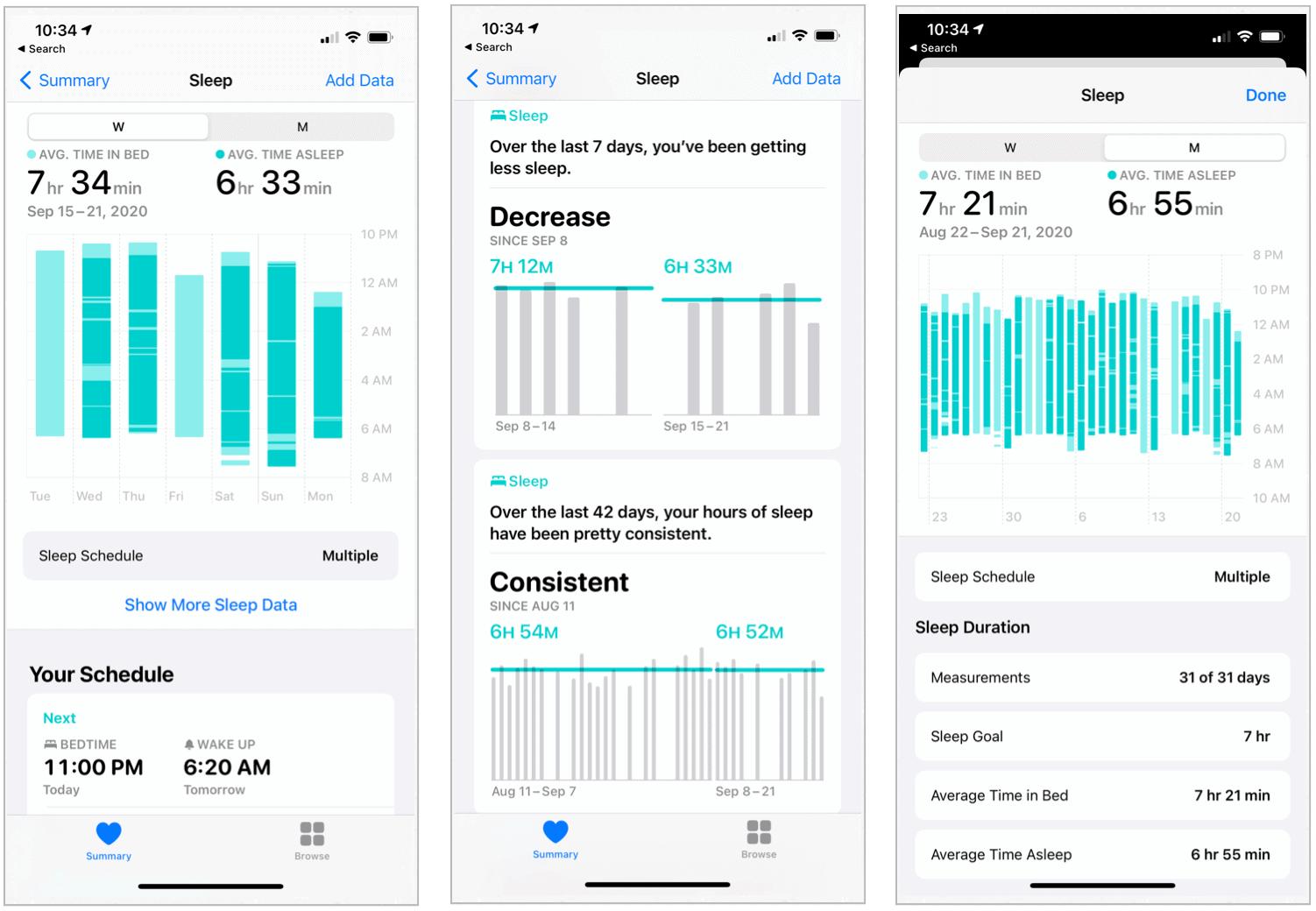 iPhone-sömninformation