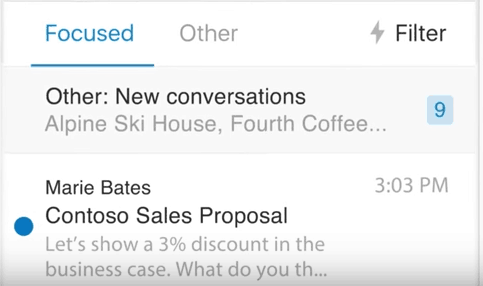 Sortera och prioritera viktiga e-postmeddelanden med fokuserad inkorg för Outlook
