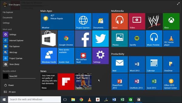 Windows 10 Build 10061 Visuell visning av nya funktioner