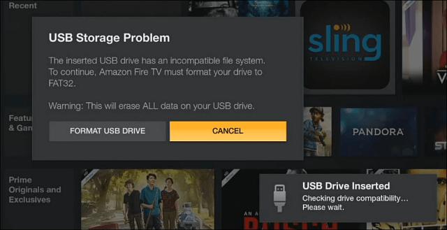 Fire TV FAT32 behöver format