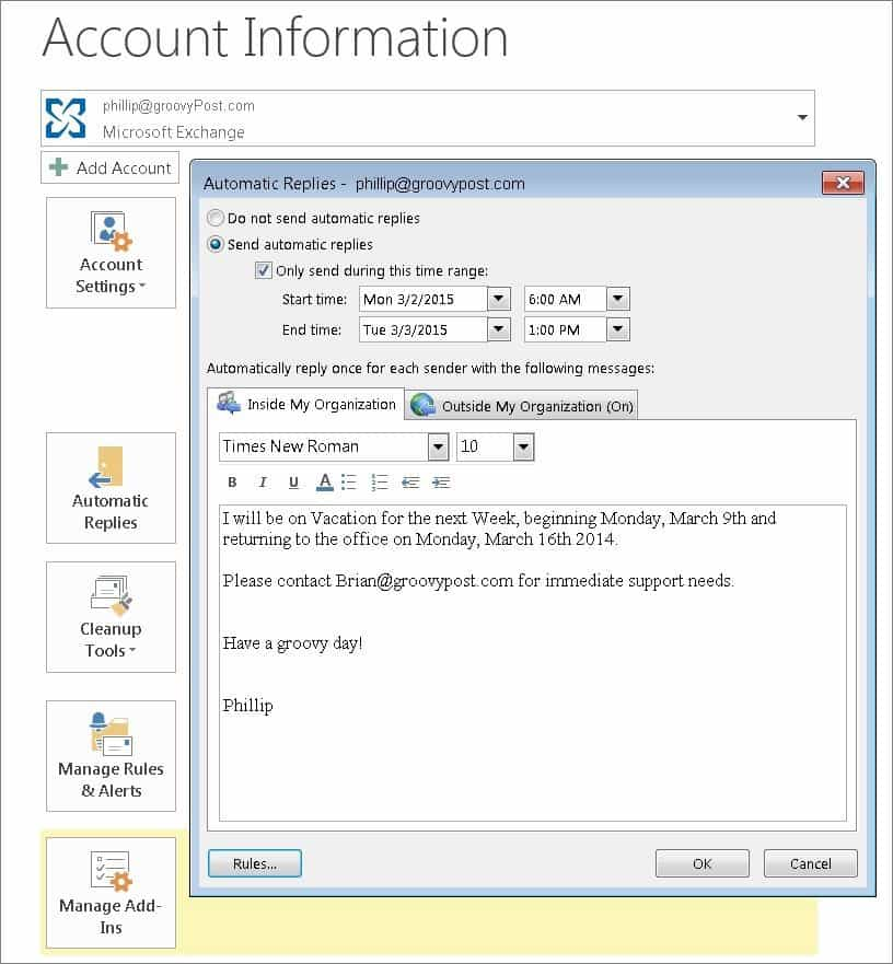 Outlook 2013 out of office