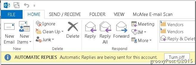 Outlook Automatiska svar uppe till höger