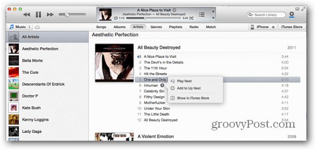 Apple iTunes 11 Spela nästa funktion