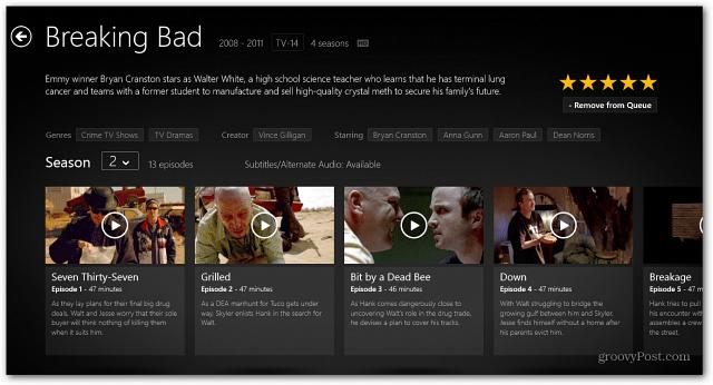 Windows 8 Netrlix App TV-serien