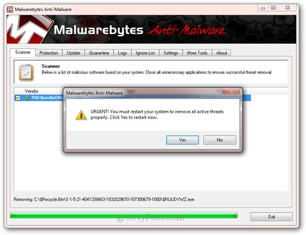 starta om malwarebytes efter borttagning