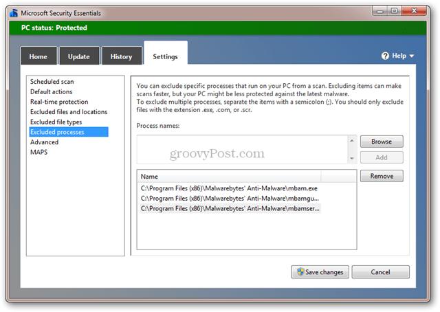 Microsoft Security Essentials och Malwarebytes