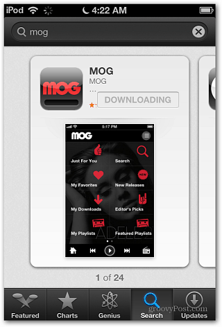 iOS 6 MOG-app