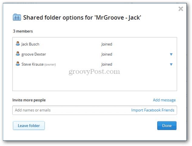 Dropbox för delade mappar för lag