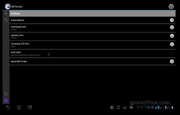 BitTorrent Beta Android-inställningar
