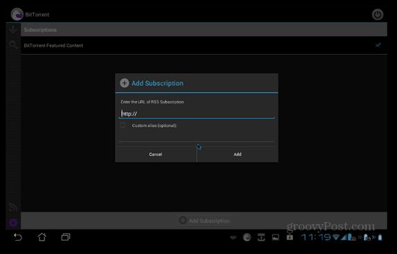 BitTorrent Beta Android prenumererar på flöde