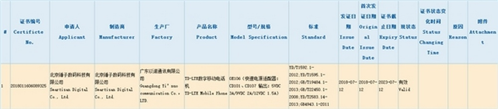 Smartisan-OE106-smartisan-Nut-Pro-3-certifiering-3c