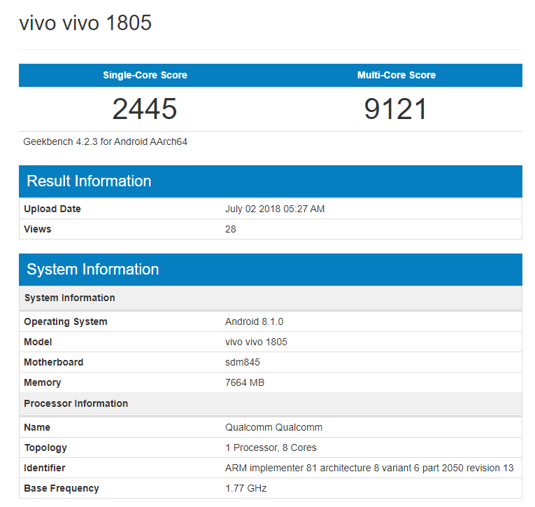Vivo-1805-Geekbench-snapdragon-845