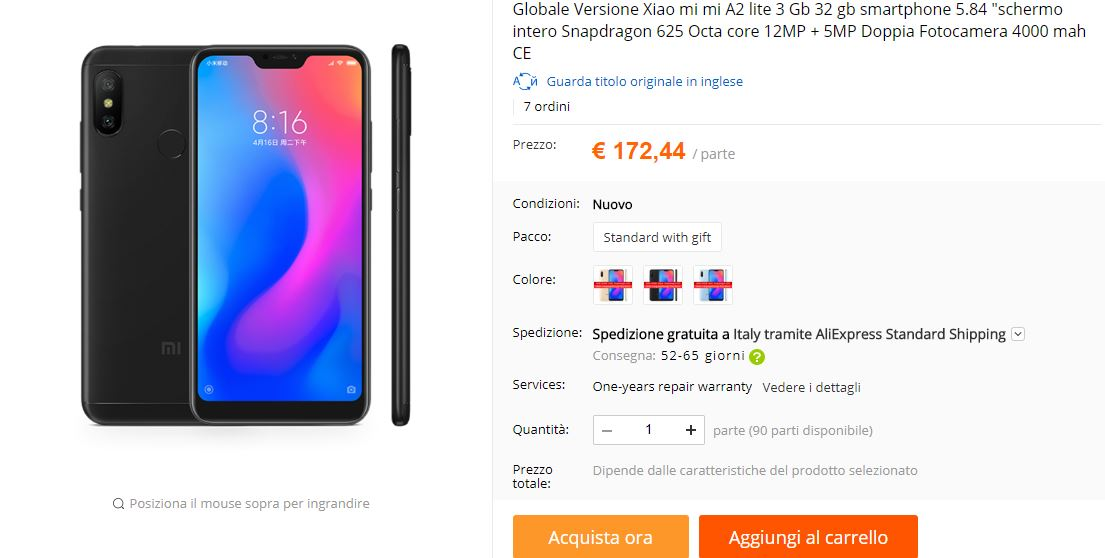 xiaomi-mi-a2-lite-pris-specifikationer-aliexpress