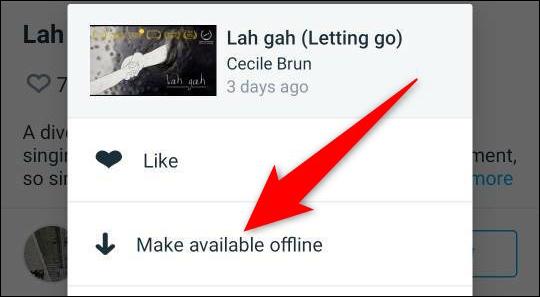"""Välj """"Gör tillgängligt offline"""" från menyn med tre punkter för en video i Vimeo-appen."""
