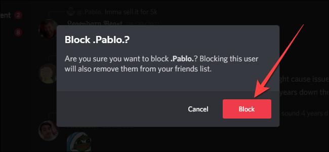 """Välj """"Blockera"""" -knappen för att bekräfta blockeringen."""