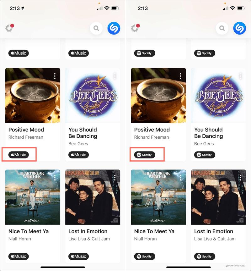 Apple Music och Spotify -låtar