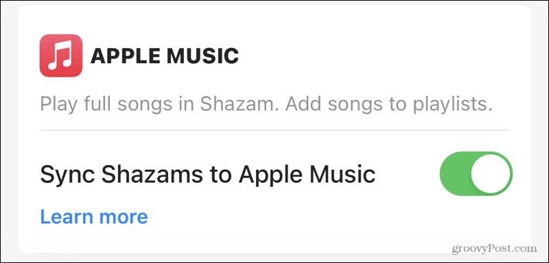 Synkronisera Apple Music med Shazam
