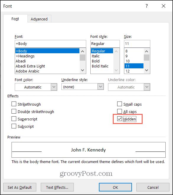 Markera rutan för dold text i Microsoft Word på Windows