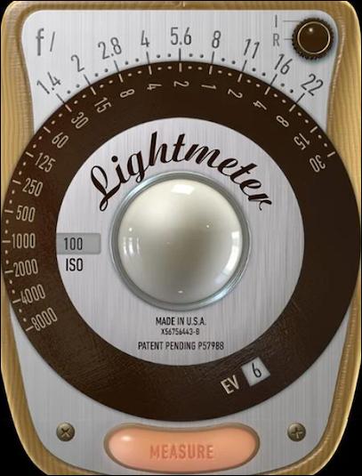 Appdisplay efterliknar äldre ljusmätare och inkluderar slutartid, bländare och ISO -inställningar.