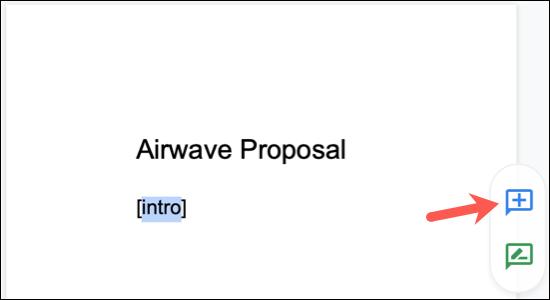 Klicka på plustecknet som visas efter att du valt en text